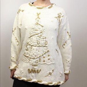vintage embroidered christmas tree tunic sweater